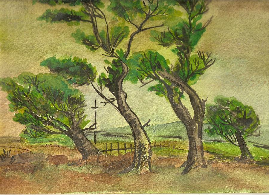 Trees Painting - Windswept Trees by Iris Devadason