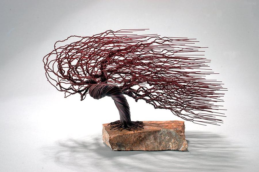 Nature Sculpture - Windswept Wire Tree by Mark Golomb