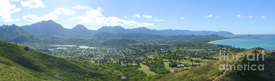 Blue Photograph - Windward Oahu Panorama I by David Cornwell/First Light Pictures, Inc - Printscapes