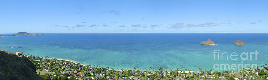 Blue Photograph - Windward Oahu Panorama II by David Cornwell/First Light Pictures, Inc - Printscapes