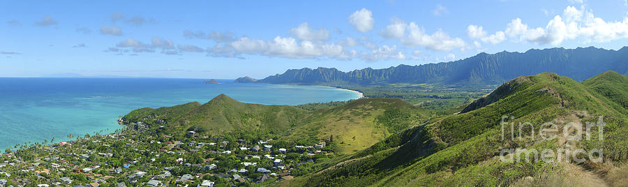 Blue Photograph - Windward Oahu Panorama IIi by David Cornwell/First Light Pictures, Inc - Printscapes