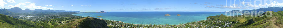 Blue Photograph - Windward Oahu Panoramic by David Cornwell/First Light Pictures, Inc - Printscapes