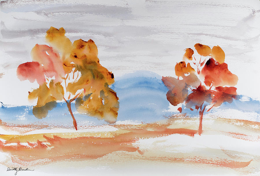 Afternoon Painting - Windy Autumn Colours  by Dorothy Darden