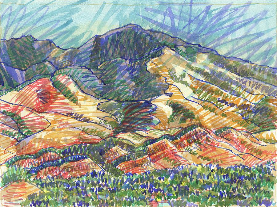 Landscape Painting - Windy Day, Mount Diablo by Judith Kunzle