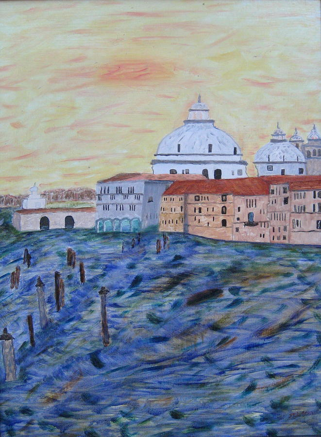 Canal Painting - Windy Day On Canale Grande by James LeClare