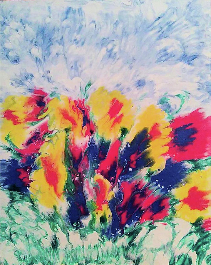 Colorful Painting - Windy Garden by Diana Robbins