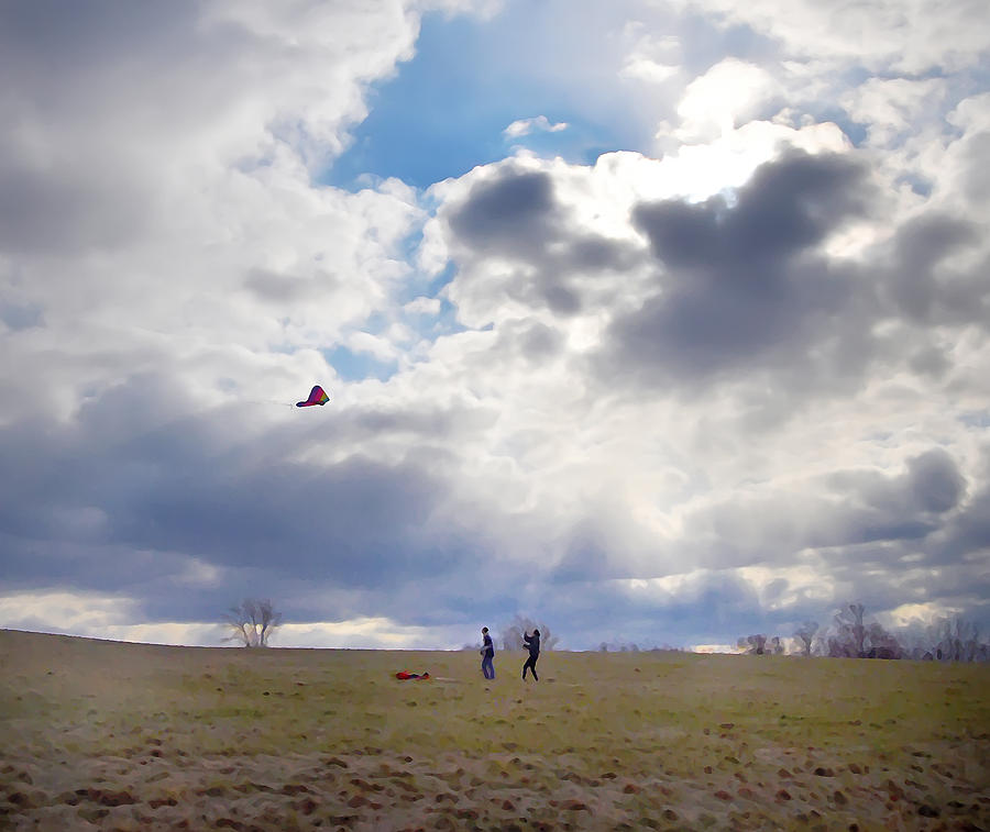 Windy Kite Day Photograph - Windy Kite Day by Bill Cannon