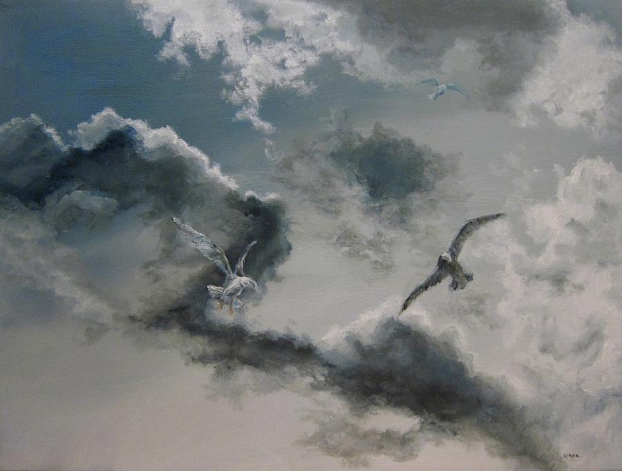 Sky Painting - Windy Weather by Diane Kraudelt