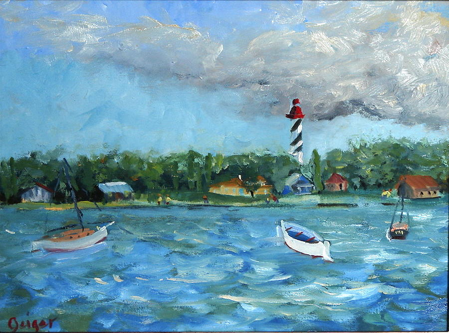 St Augustine Painting - Windy Wintry Anchorage by Pamela Geiger