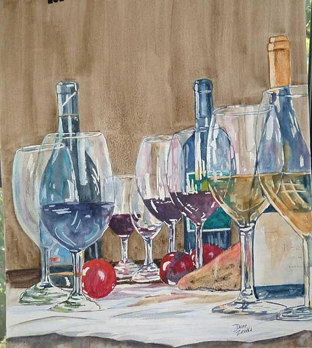 Wine 2 Painting by Diane Ziemski