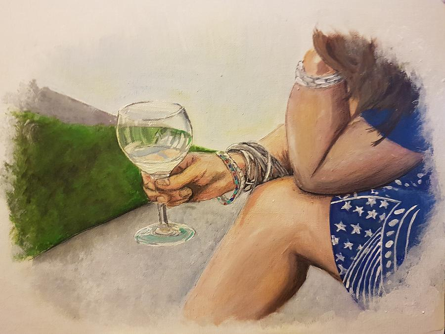 Wine And Bracelets Painting by Carole Hutchison