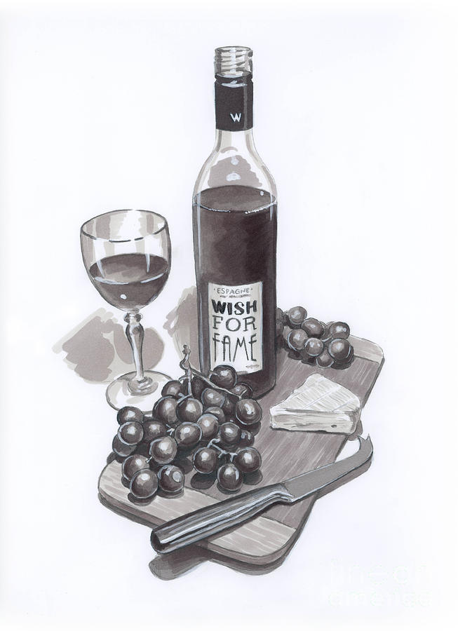 Wine And Cheese Drawing