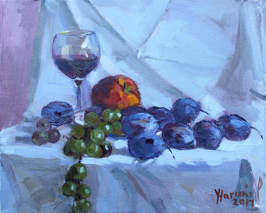Wine Painting - Wine and Fresh Fruits by Ylli Haruni