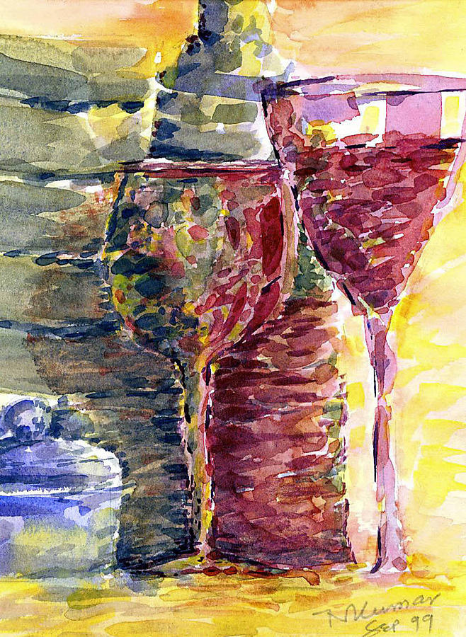 wine and glasses by Naini Kumar