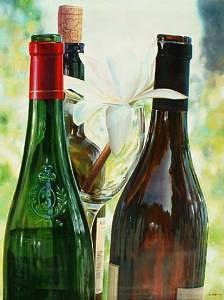 Photorealism Painting - Wine And Lily  by Denis Eutikhiev