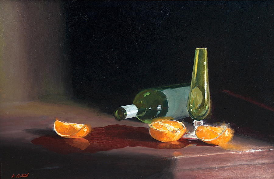 Still Life Painting - Wine And Oranges by Greg Clibon