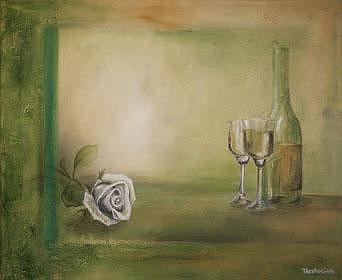 Gallery Framed Painting - Wine And Rose by Tracy Gavin