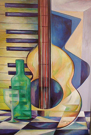 Contemporary Painting - Wine And Song by Lloyd DeBerry