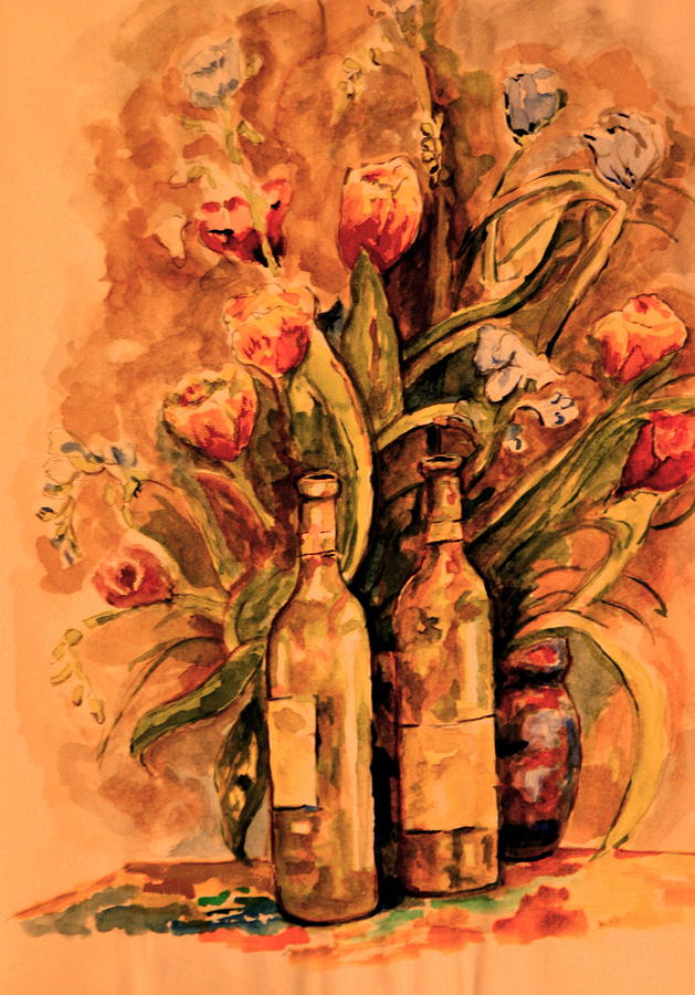 Wine Bottles Painting - Wine And Tulips by Dan Earle