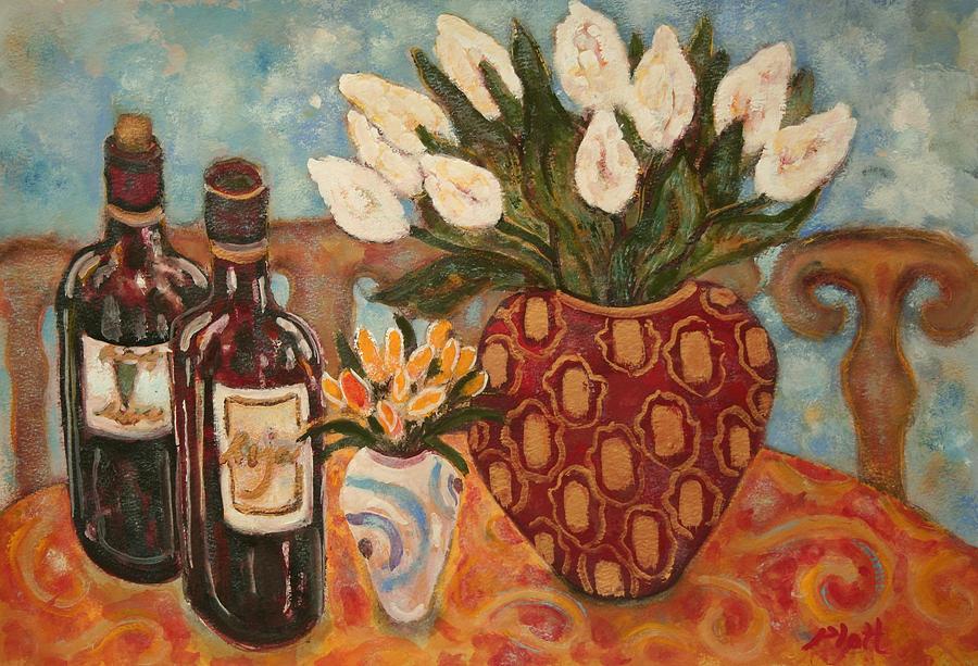 Modern British Painting - Wine And Tulips by Lorraine Platt