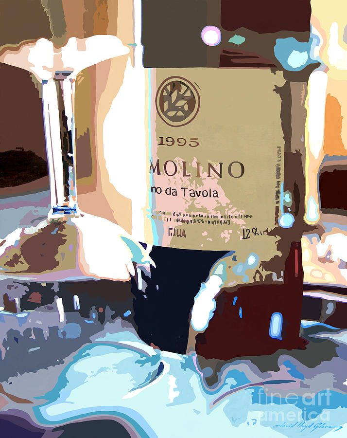 Wine Painting - Wine And Two Glasses by David Lloyd Glover