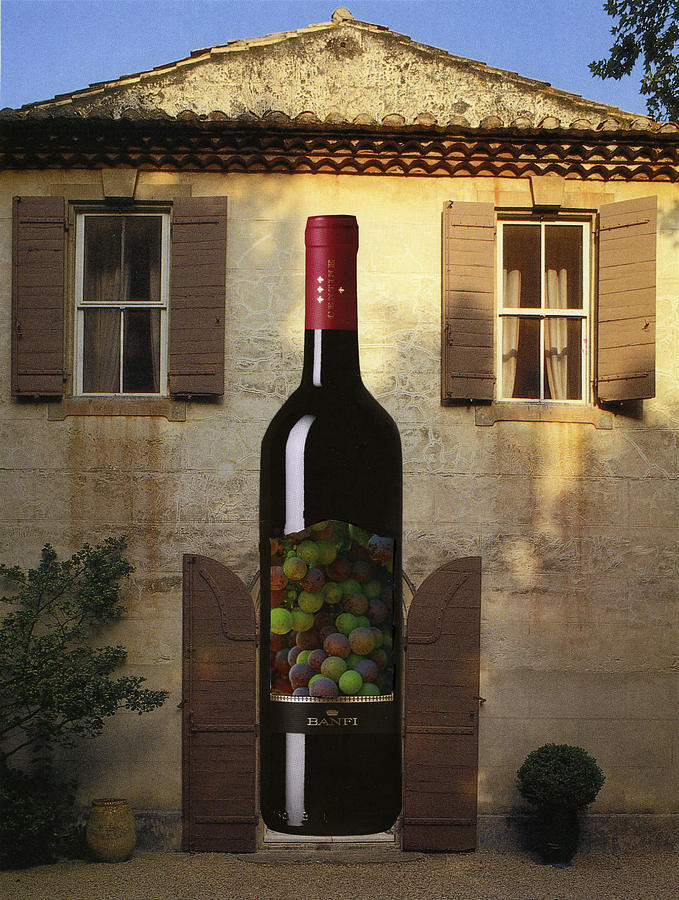 French Country House Photograph - Wine Bottle At The Front Door by Francine Gourguechon