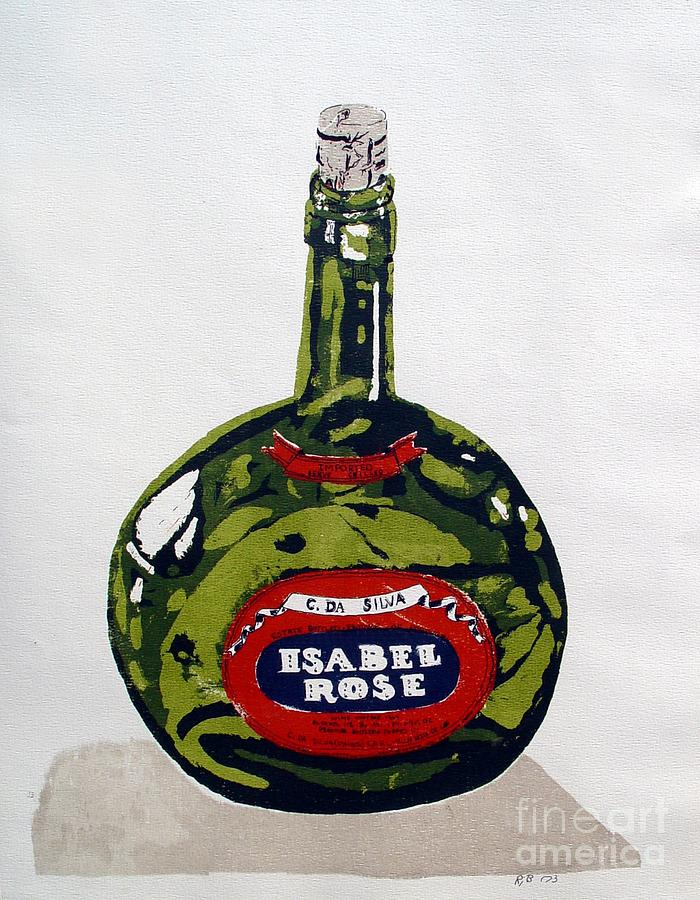 Silk Screen Mixed Media - Wine Bottle by Ron Bissett