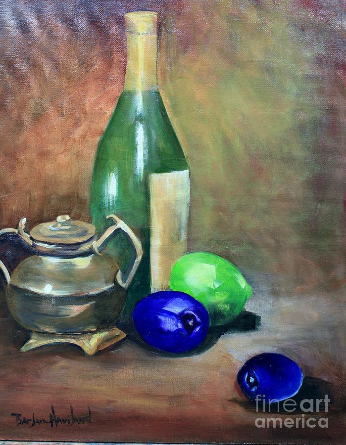 Wine Bottle,Brass and Lemons by Barbara Haviland