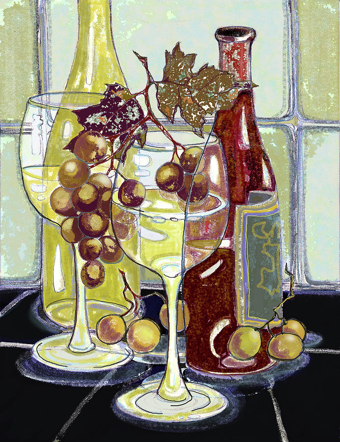 Wine Mixed Media - Wine Bottles Grapes And Glasses by Peggy Wilson