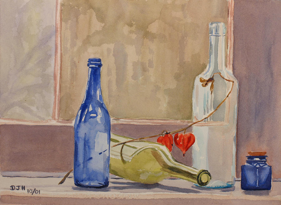 Wine Painting - Wine Bottles On Shelf by Debbie Homewood