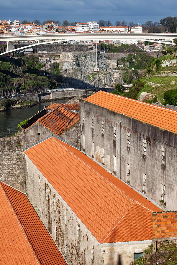 Bridge Photograph - Wine Cellars In Vila Nova De Gaia By The Douro River by Artur Bogacki