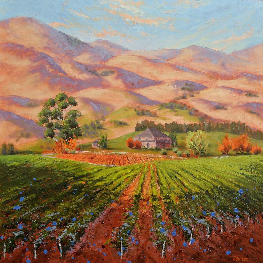 Vineyard Painting - Wine Country II - Talley Vineyard Arroyo Grande by Lynee Sapere