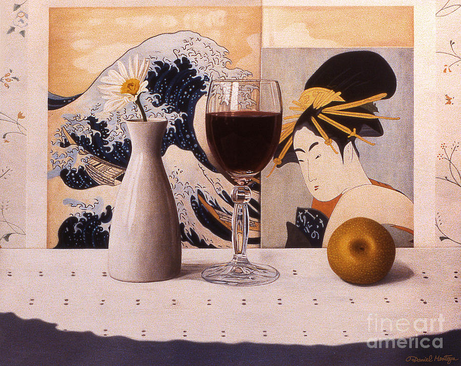 Print Painting - Wine Glas And Japanese Prints by Daniel Montoya