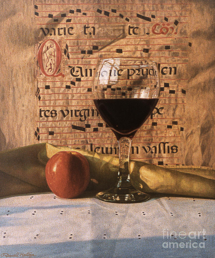 Painting Painting - Wine Glass And Manuscript by Daniel Montoya