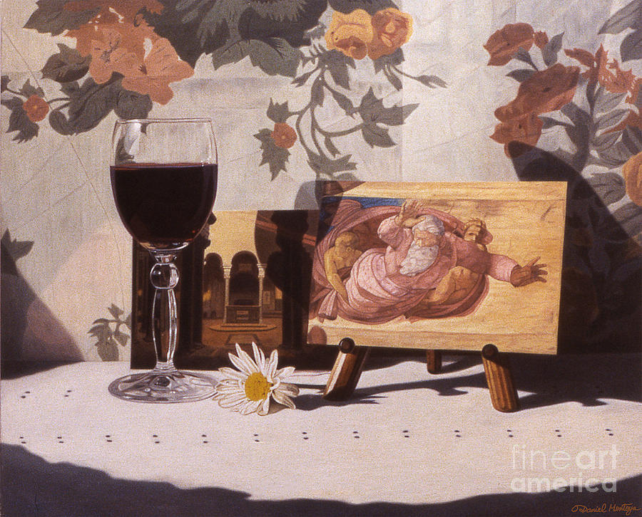 Painting Painting - Wine Glass And Michelangelo by Daniel Montoya