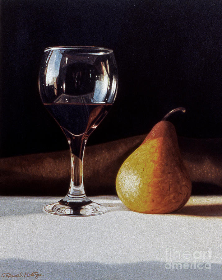 Food Painting - Wine Glass And Pear by Daniel Montoya