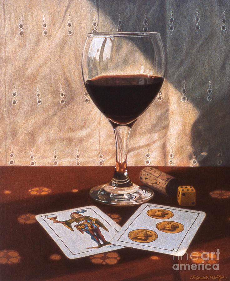 Food Painting - Wine Glass And Playing Cards by Daniel Montoya