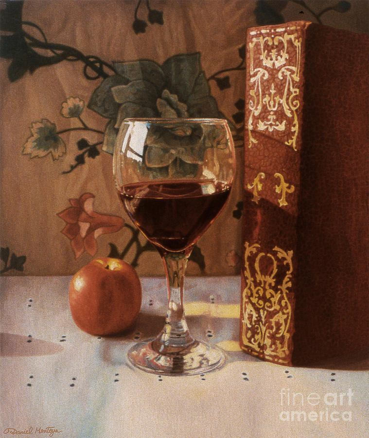 Food Painting - Wine Glass And Red Book by Daniel Montoya