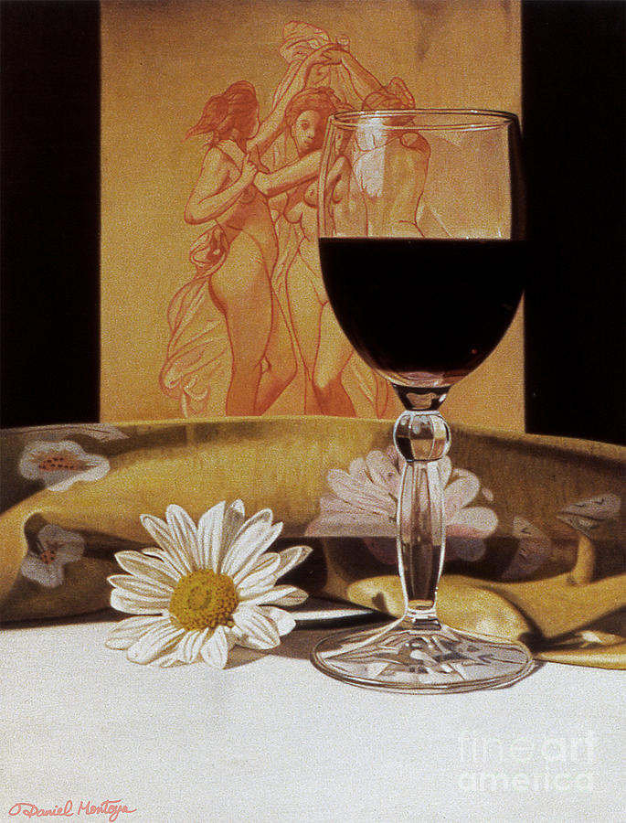 Painting Painting - Wine Glass And Three Graces by Daniel Montoya