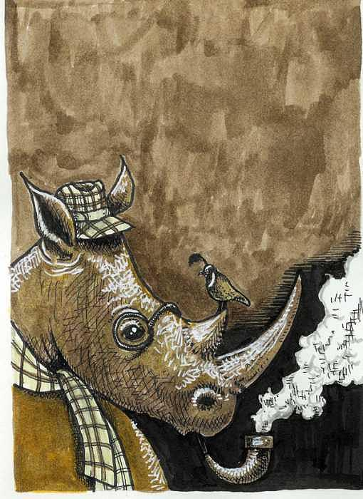 Wine Label Design-white Rhino Painting by Meat-Jeffery Paul Gadbois