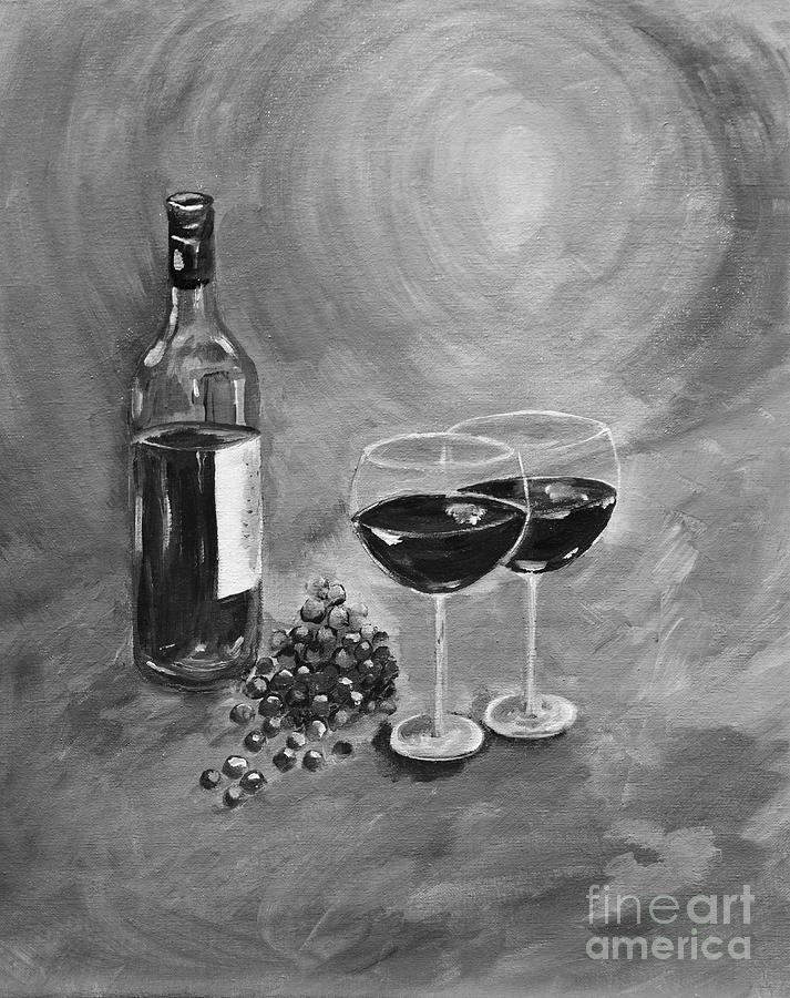 Wine Painting - Wine On My Canvas - Black And White - Wine For Two by Jan Dappen