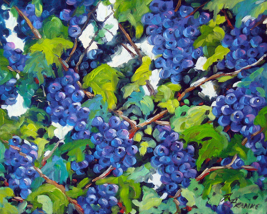 Fruits Painting - Wine On The Vine by Richard T Pranke