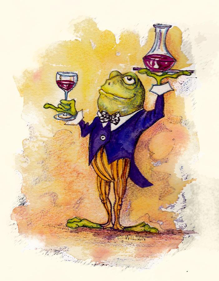 Wine Mixed Media - Wine Steward Toady by Peggy Wilson