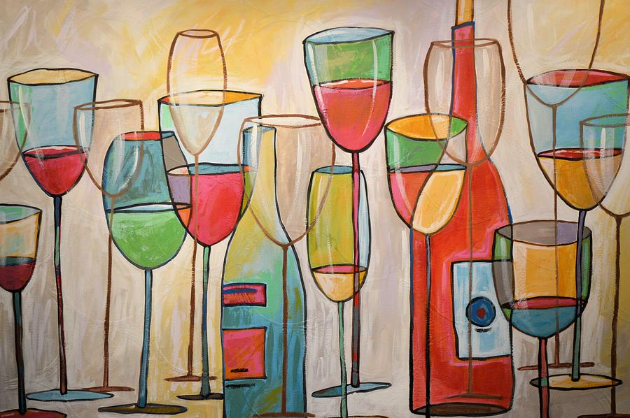 Wine Painting - Wine Tasting by Amy Giacomelli