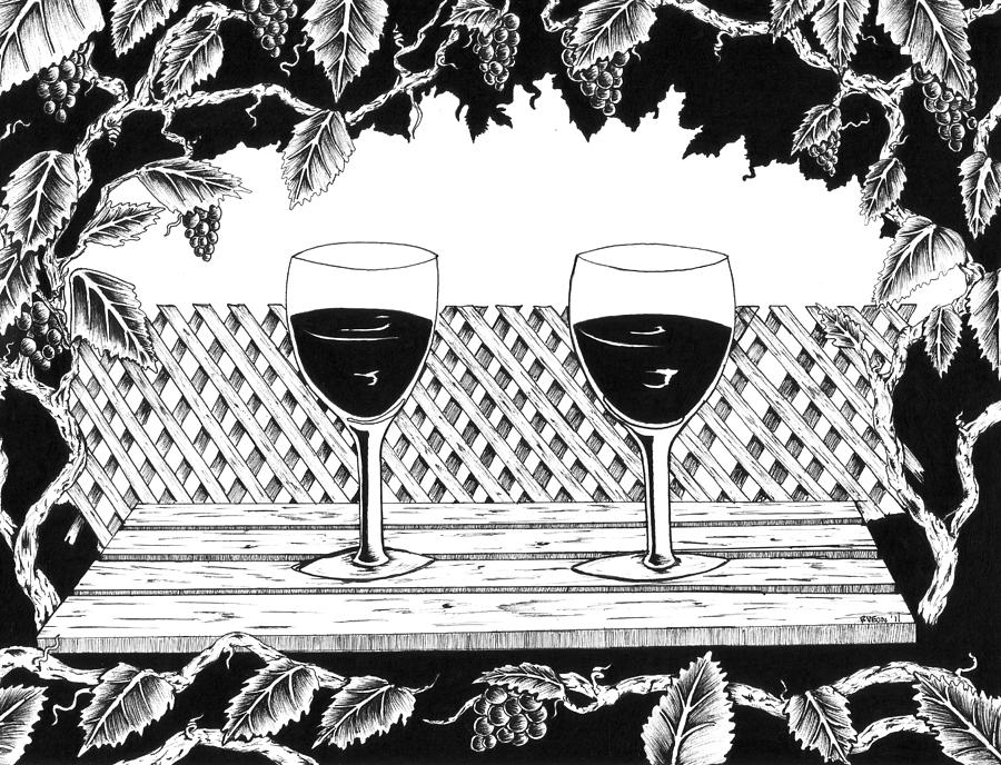 Wine Time Drawing - Wine Time by Bob Veon