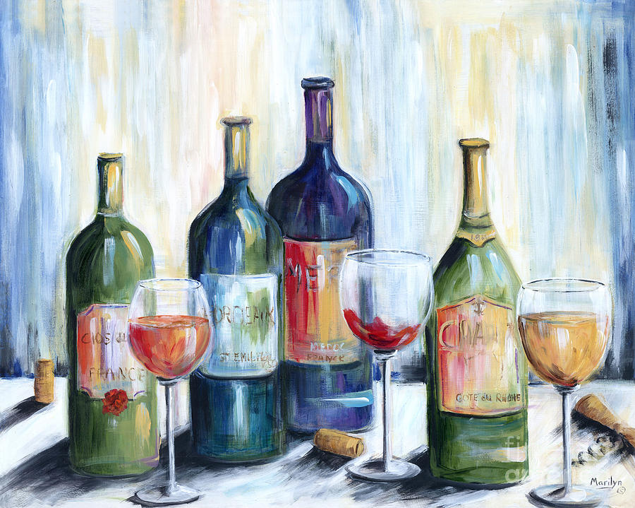 Wine Painting - Wine Time by Marilyn Dunlap