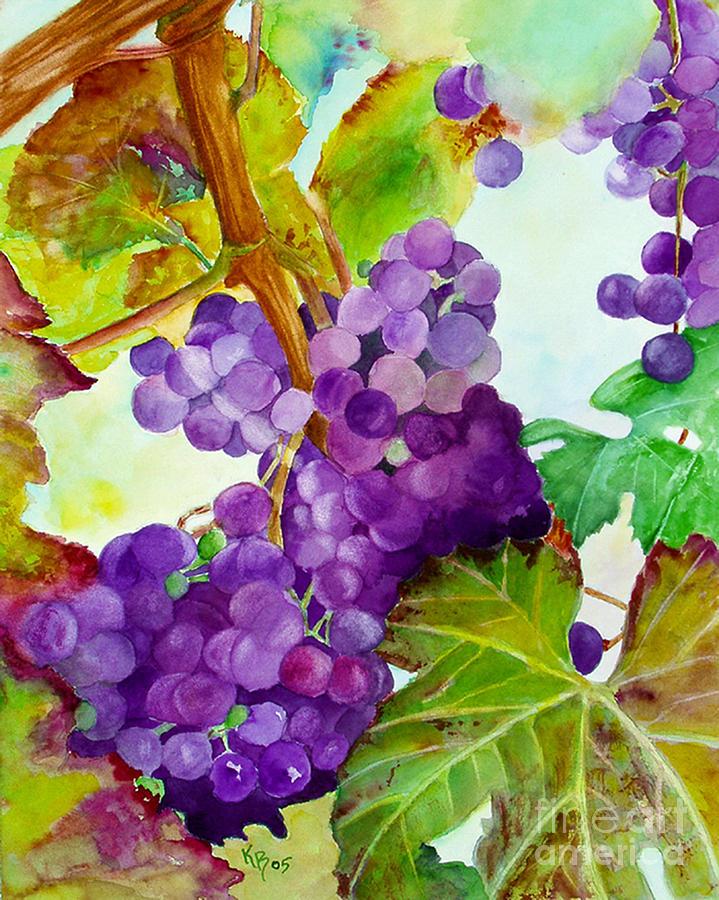Wine Painting - Wine Vine by Karen Fleschler