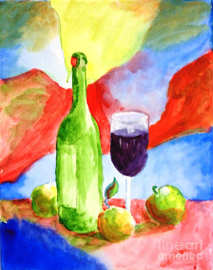 Wine Painting - Wine Women and Apples by Joe Hagarty