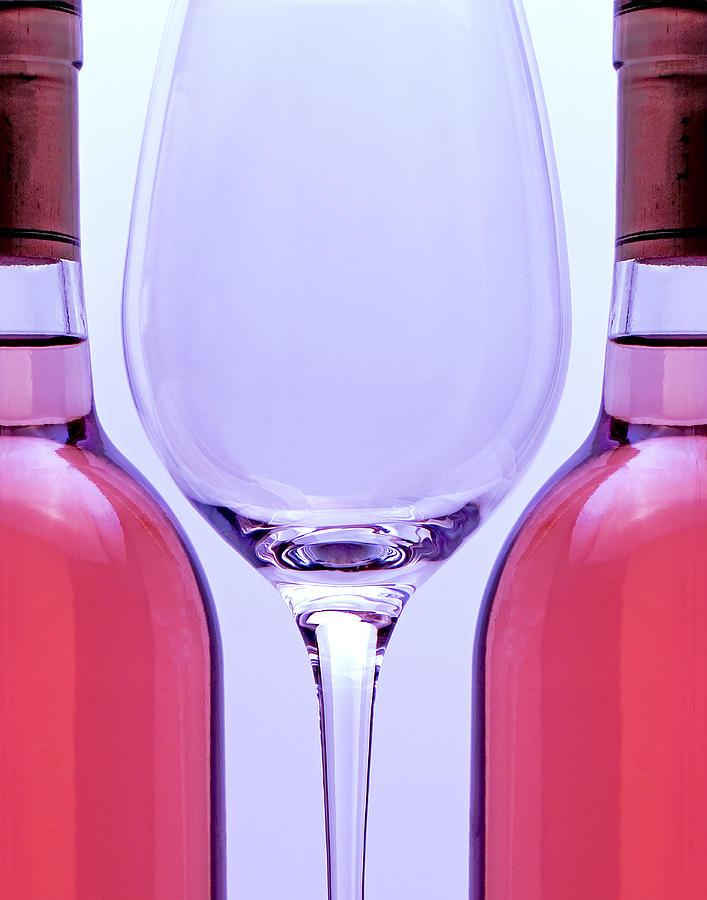 Wine Photograph - Wineglass And Bottles by Tom Mc Nemar
