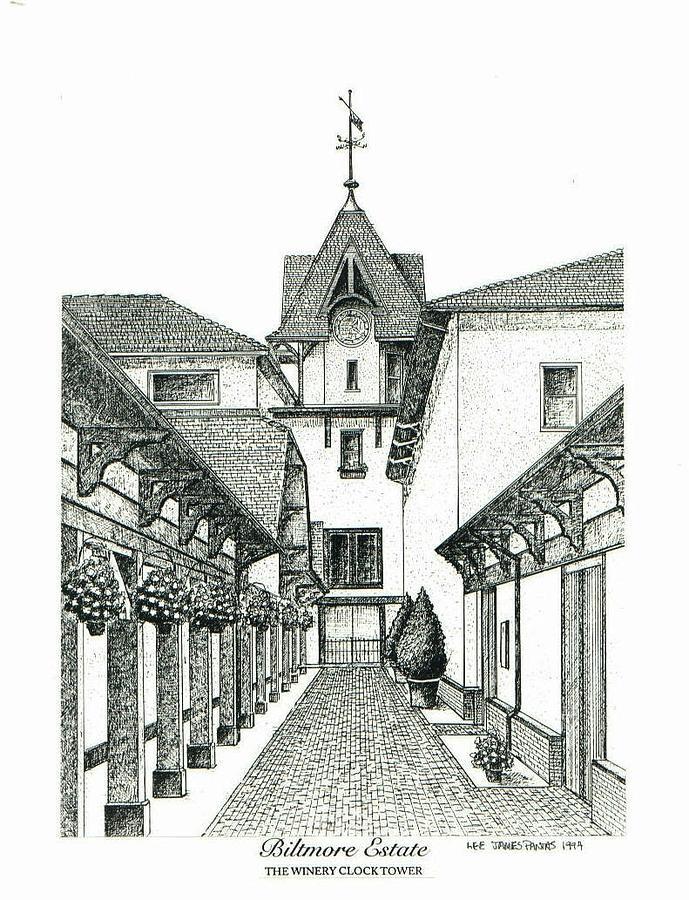 Biltmore Estate Drawing - Winery Clock Tower on Biltmore Estate by Lee Pantas